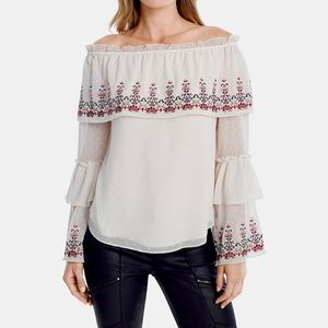 WHBM Off the Shoulder Floral Embroidered Ivory Top